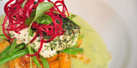 Olive Oil Poached Halibut With Chipotle Potato Salad & Gazpacho