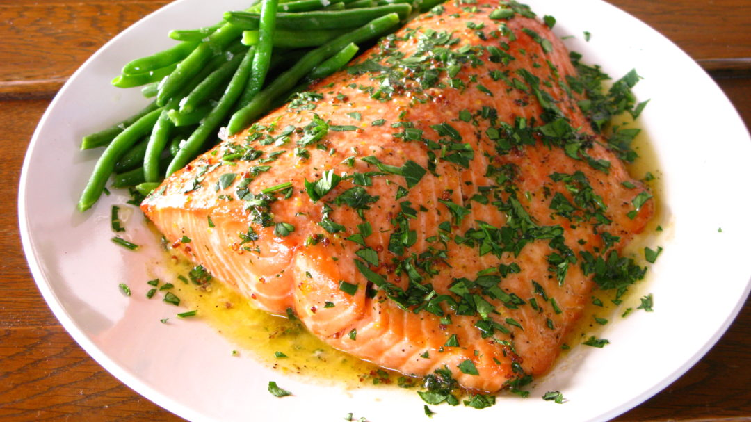 Roasted Salmon With Whole Grain Mustard & Brandy